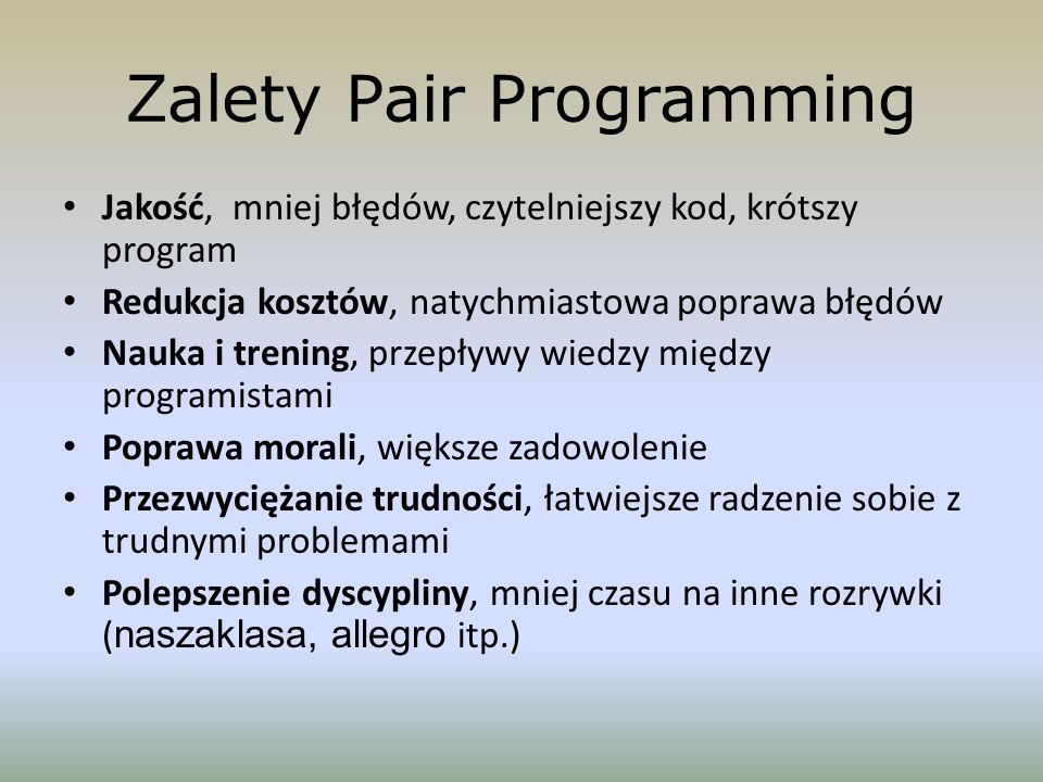 Zalety Pair Programming