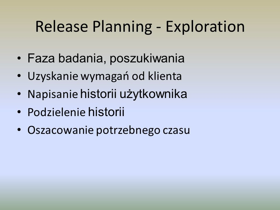 Release Planning - Exploration
