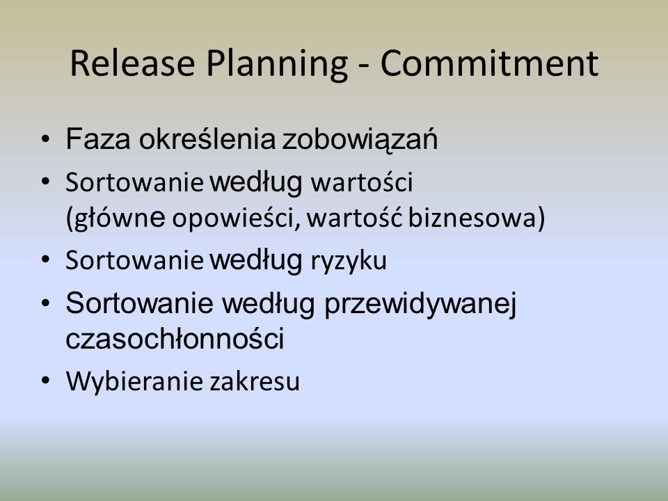 Release Planning - Commitment