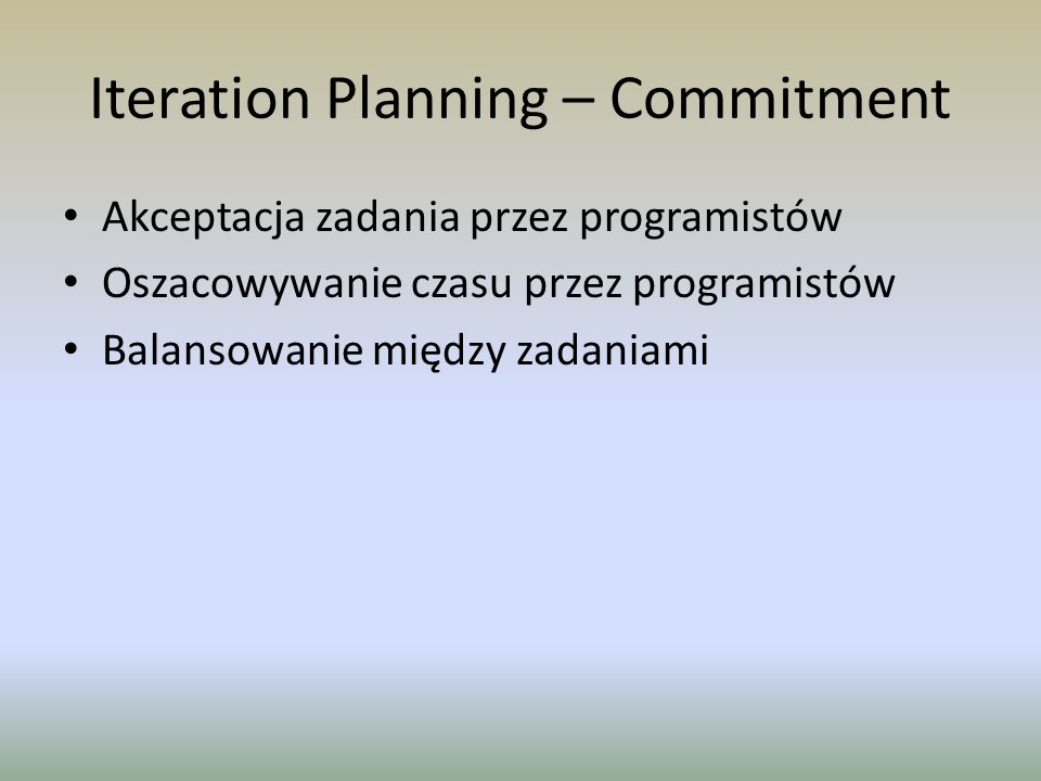 Iteration Planning – Commitment