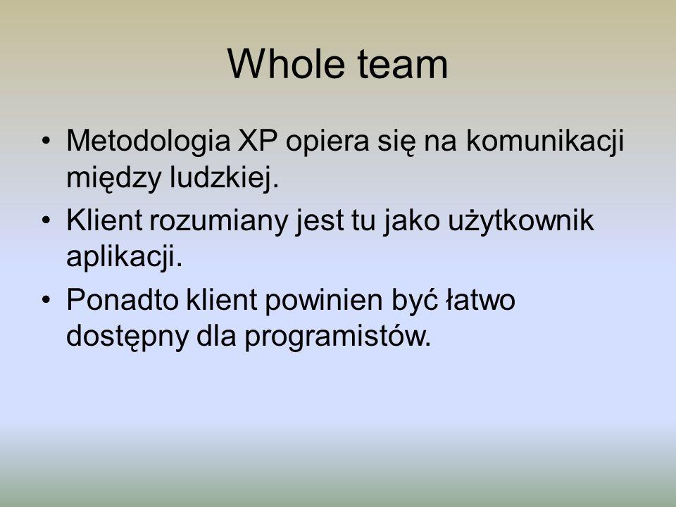 Whole team Metodologia XP opiera się na komunikacji między ludzkiej.