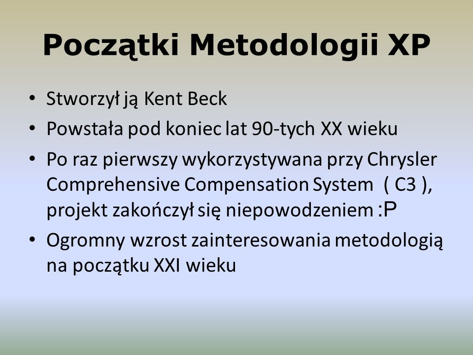 Początki Metodologii XP
