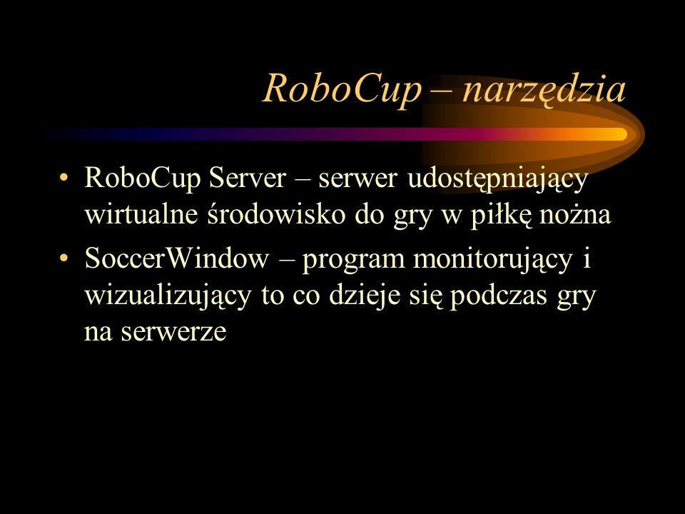 RoboCup – narzędzia RoboCup Server – serwer udostępniający wirtualne środowisko do gry w piłkę nożna.