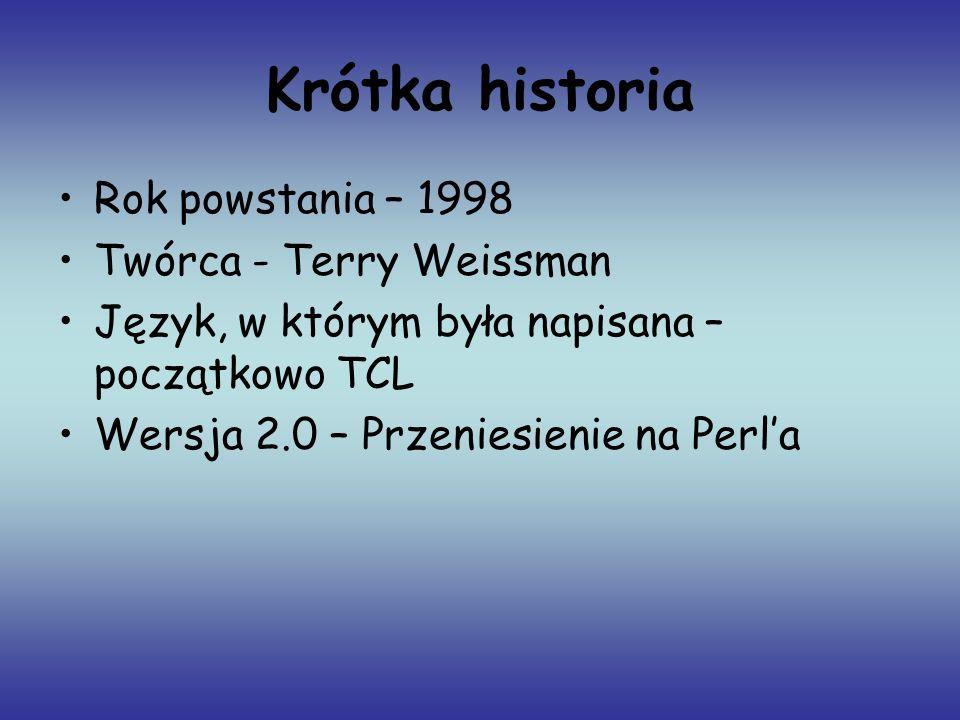 Krótka historia Rok powstania – 1998 Twórca - Terry Weissman