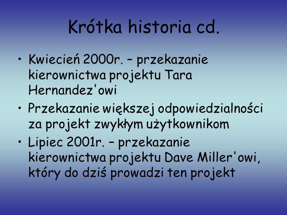 Krótka historia cd. Kwiecień 2000r. – przekazanie kierownictwa projektu Tara Hernandez owi.