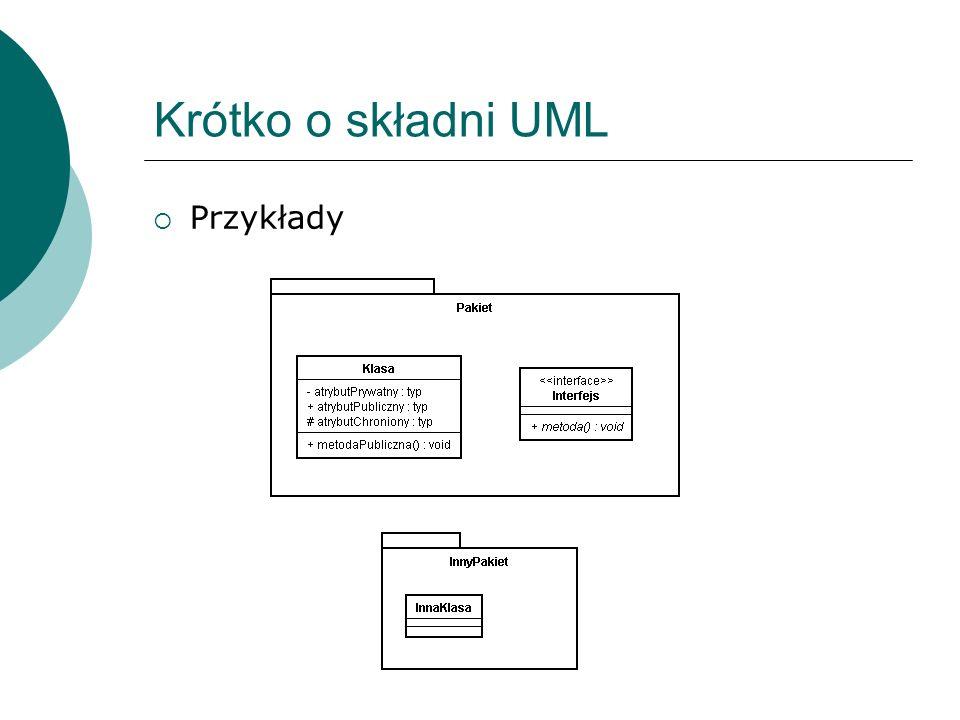 Krótko o składni UML Przykłady