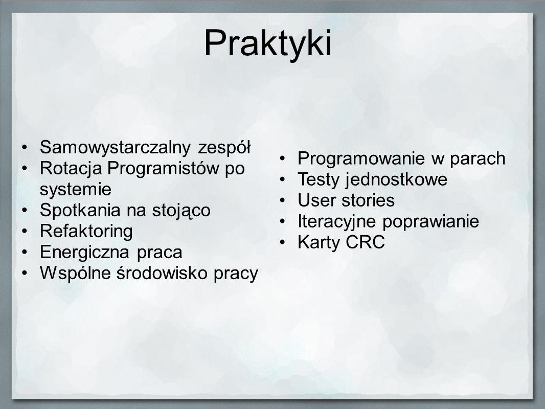 Praktyki Samowystarczalny zespół Rotacja Programistów po systemie