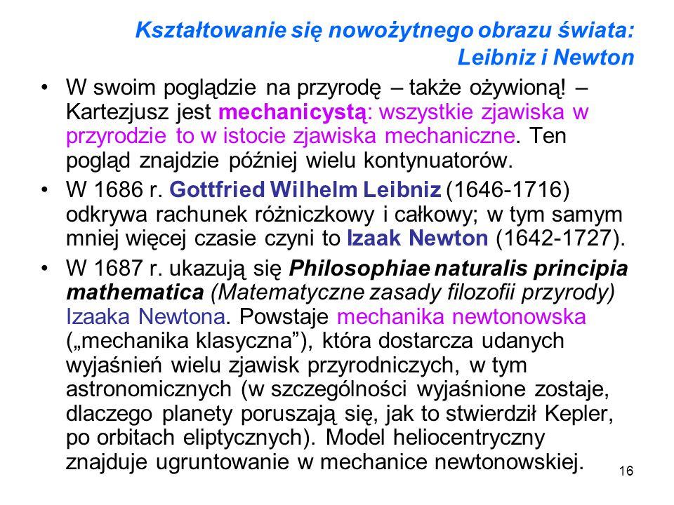 Kształtowanie się nowożytnego obrazu świata: Leibniz i Newton