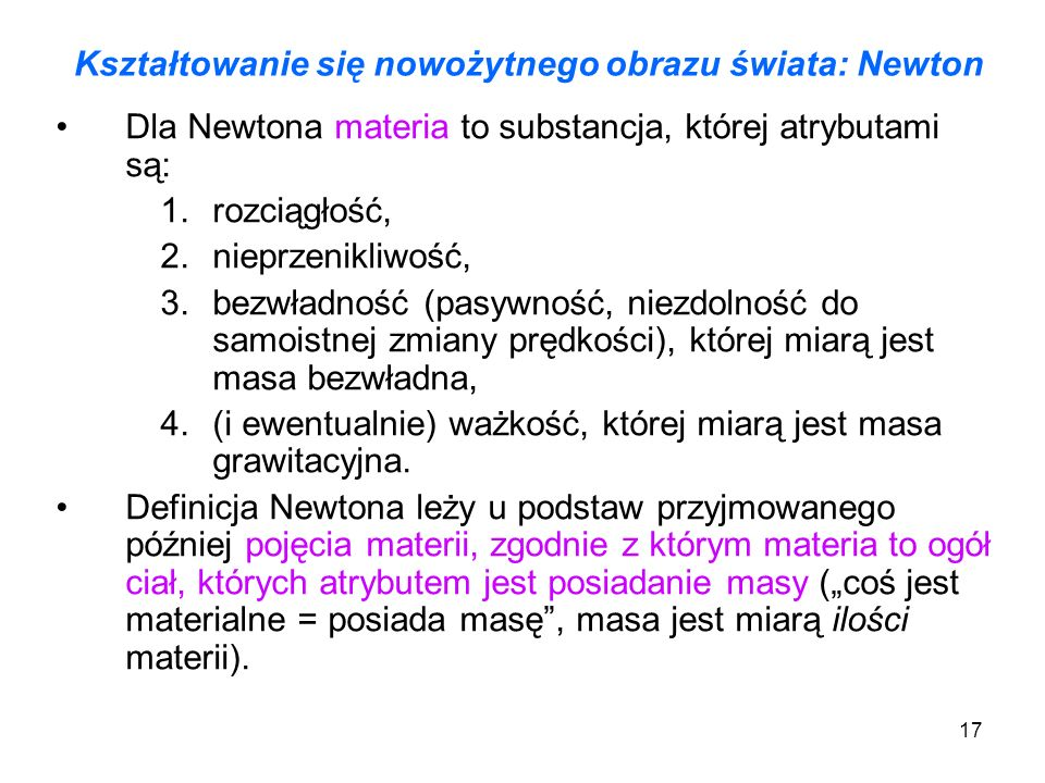 Kształtowanie się nowożytnego obrazu świata: Newton