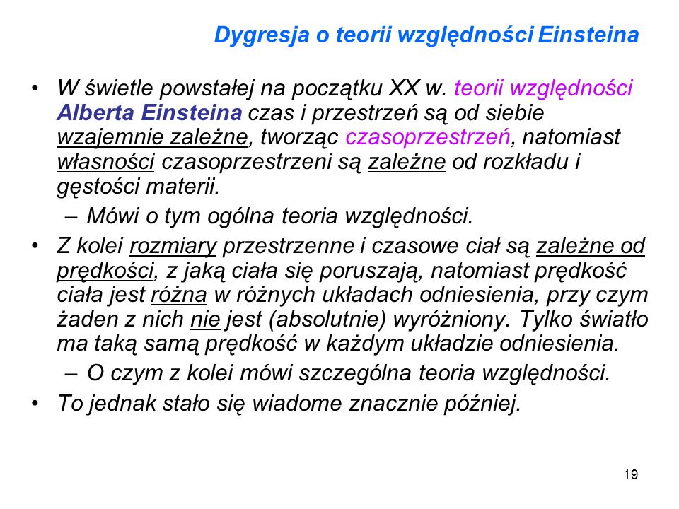 Dygresja o teorii względności Einsteina