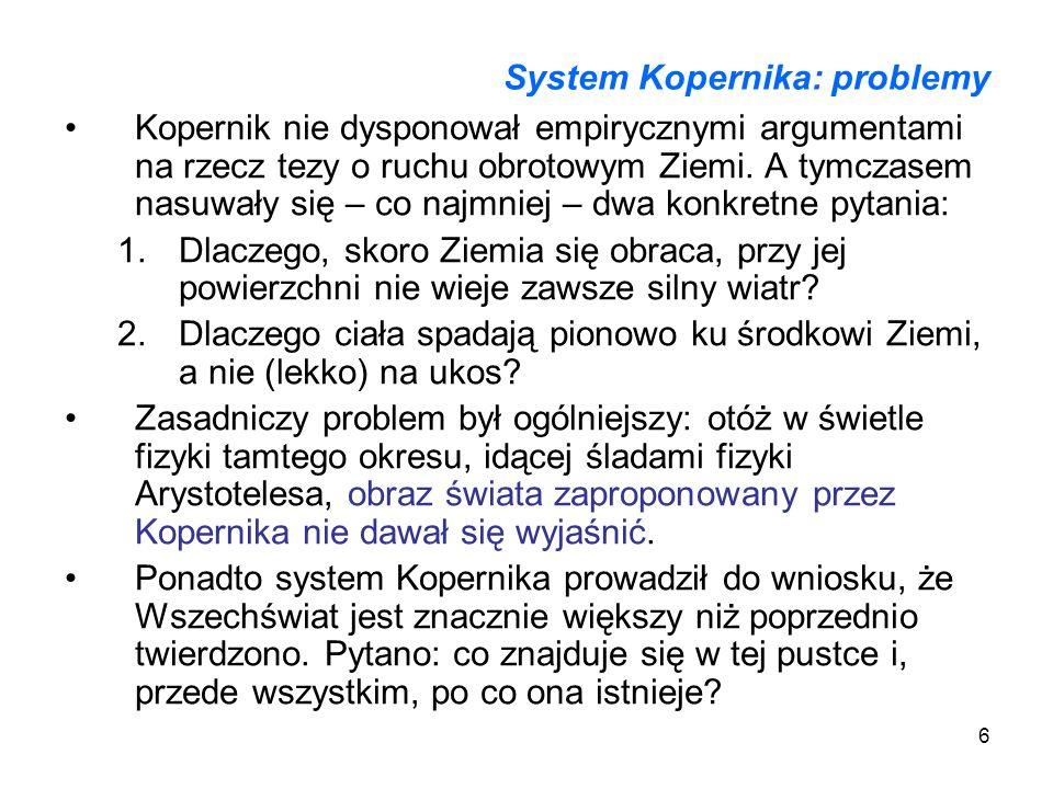 System Kopernika: problemy