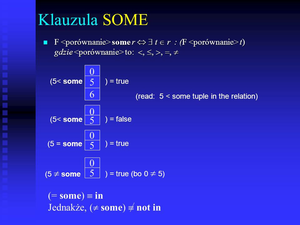 Klauzula SOME 5 6 5 5 5 (= some)  in Jednakże, ( some)  not in