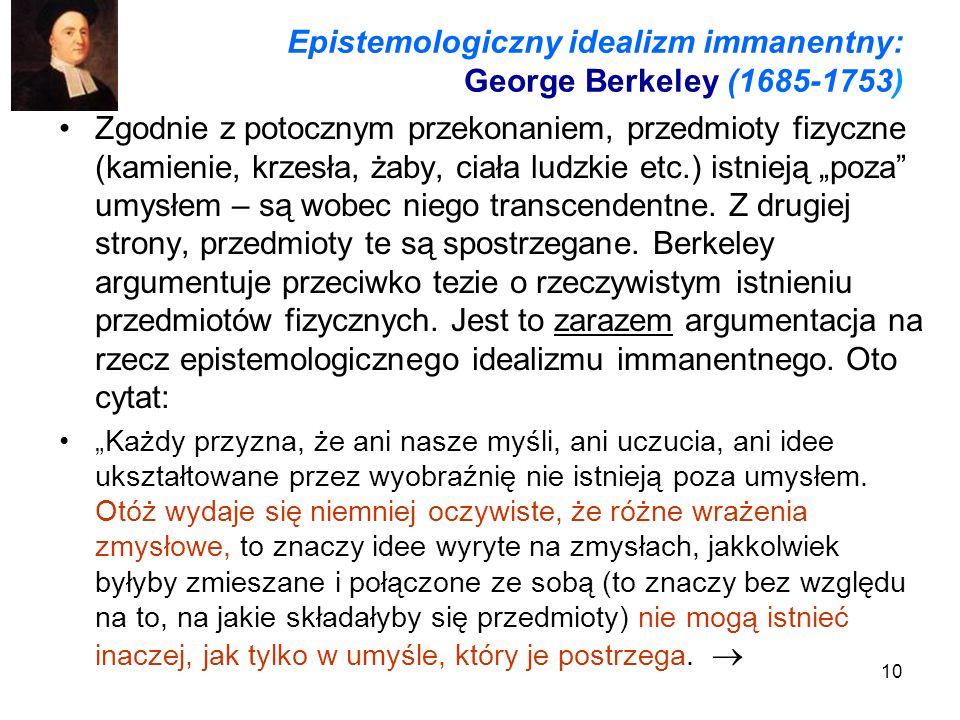 Epistemologiczny idealizm immanentny: George Berkeley (1685-1753)