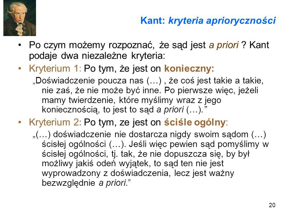 Kant: kryteria aprioryczności