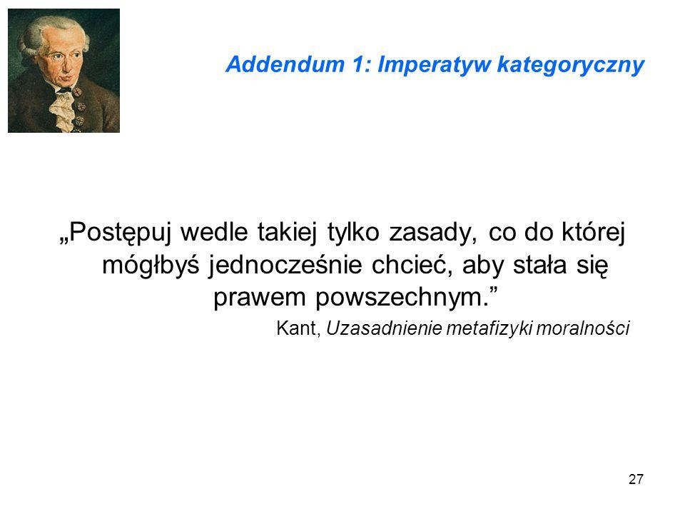 Addendum 1: Imperatyw kategoryczny