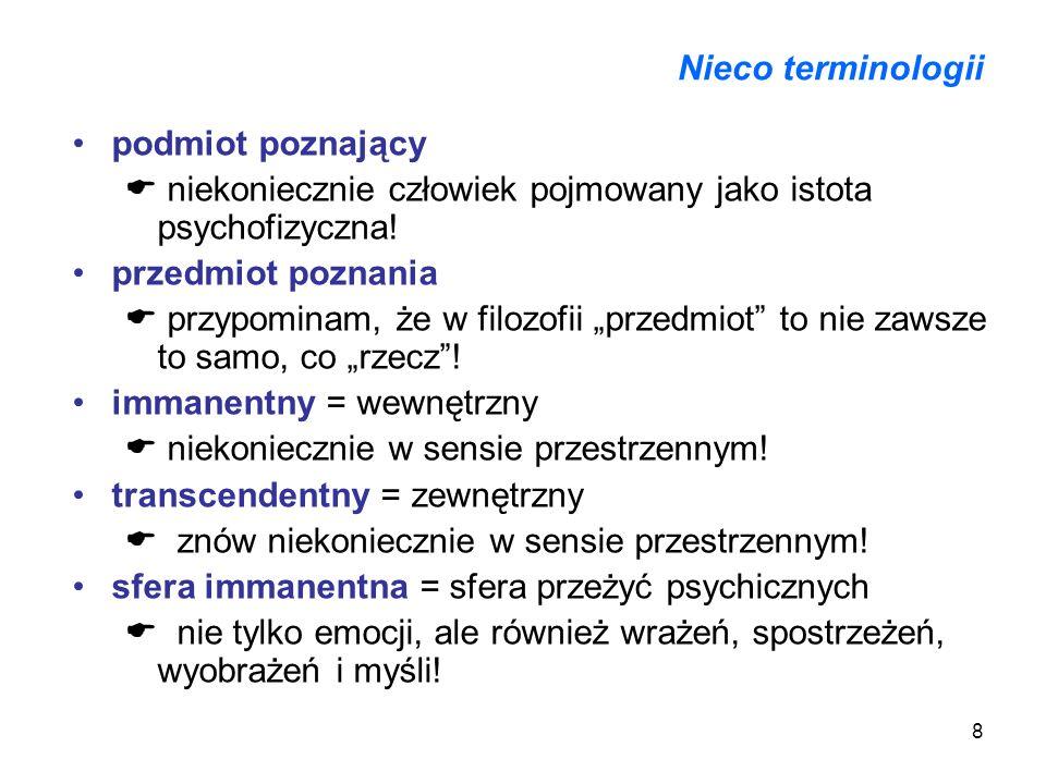 Nieco terminologii podmiot poznający.  niekoniecznie człowiek pojmowany jako istota psychofizyczna!