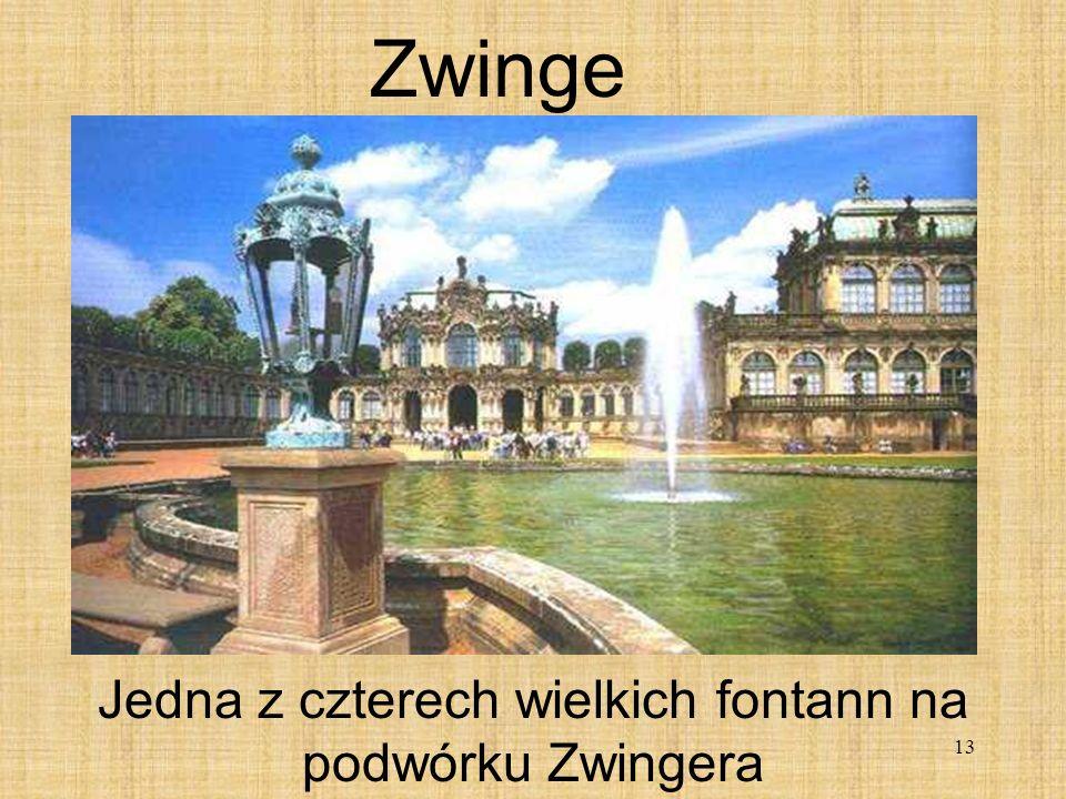Jedna z czterech wielkich fontann na podwórku Zwingera