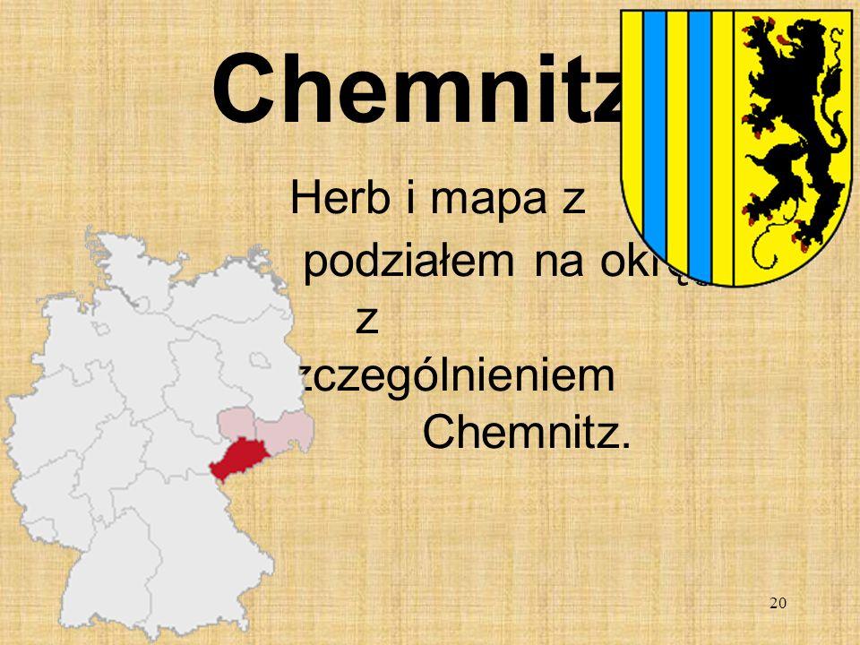 Chemnitz Herb i mapa z podziałem na okręgi z wyszczególnieniem Chemnitz.
