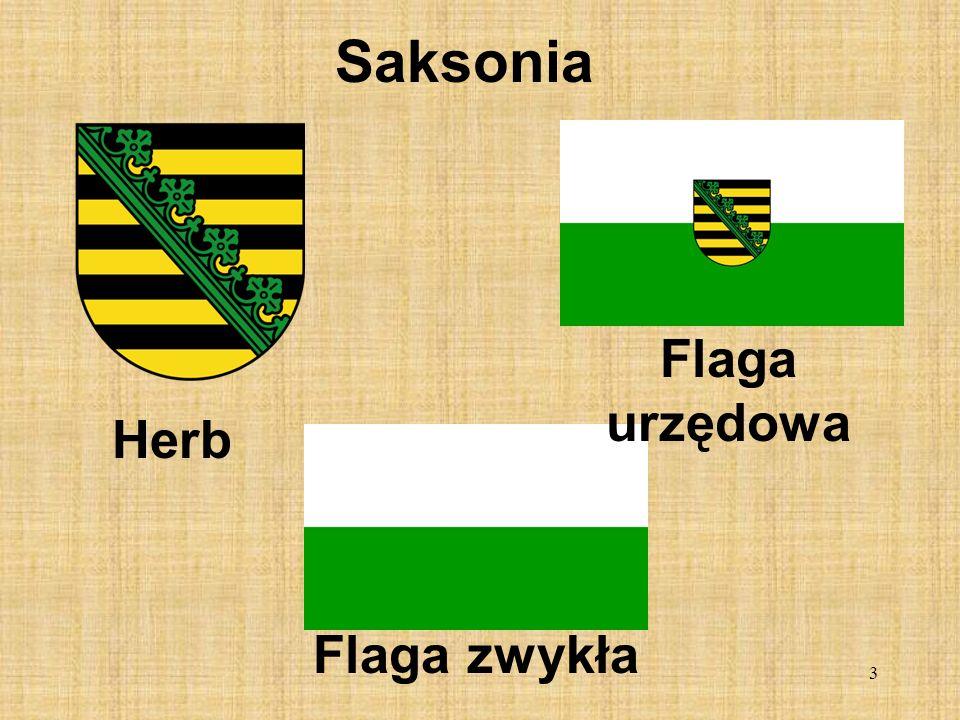 Saksonia Flaga urzędowa Herb Flaga zwykła