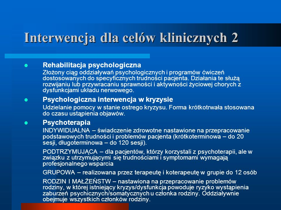 Interwencja dla celów klinicznych 2