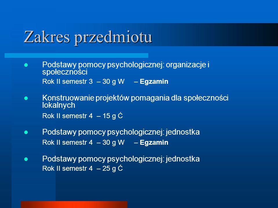 Zakres przedmiotu Podstawy pomocy psychologicznej: organizacje i społeczności. Rok II semestr 3 – 30 g W – Egzamin.