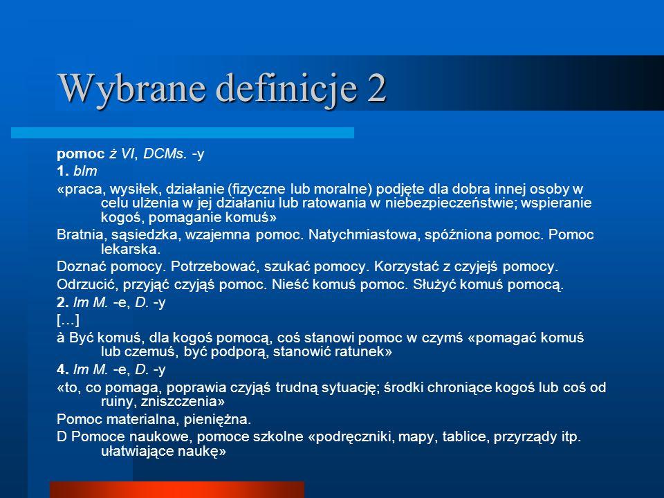 Wybrane definicje 2 pomoc ż VI, DCMs. -y 1. blm