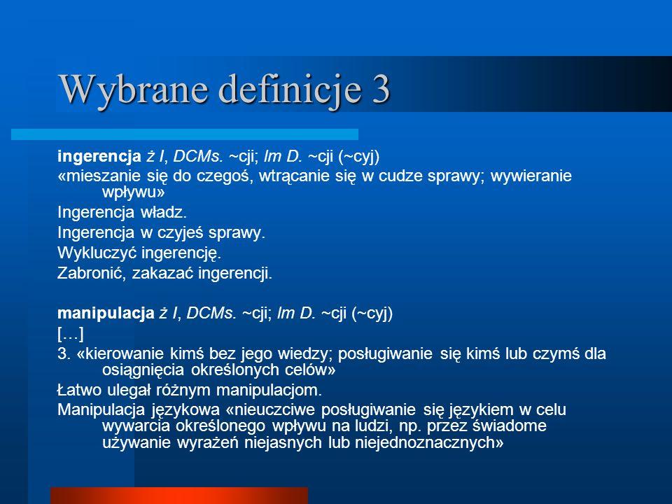 Wybrane definicje 3 ingerencja ż I, DCMs. ~cji; lm D. ~cji (~cyj)