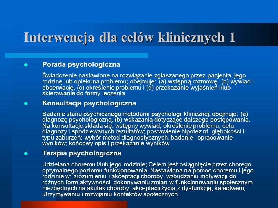 Interwencja dla celów klinicznych 1