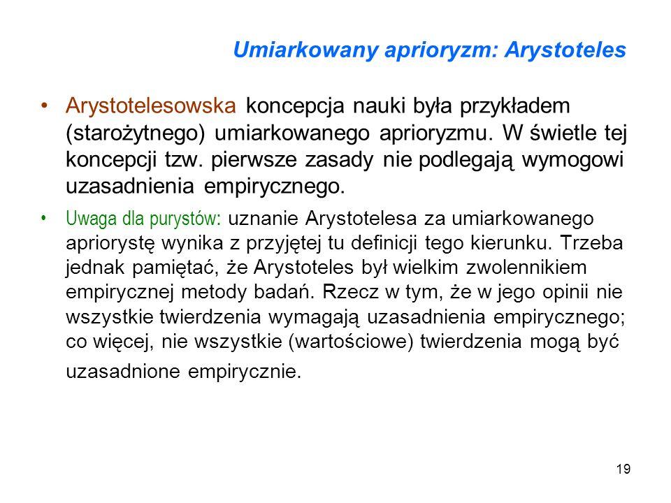 Umiarkowany aprioryzm: Arystoteles