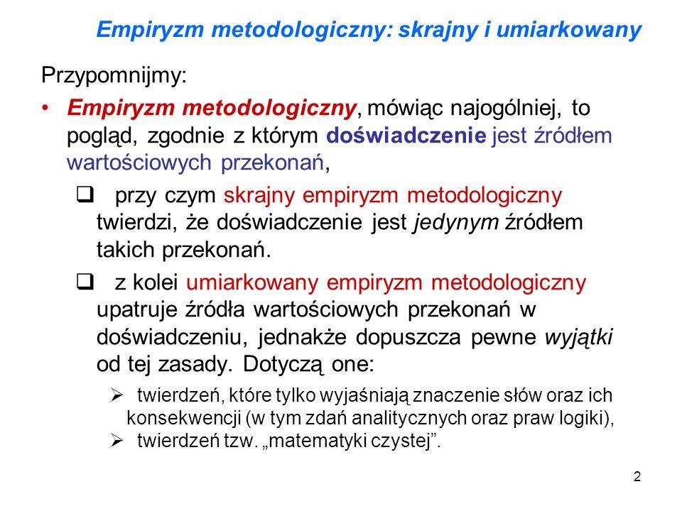 Empiryzm metodologiczny: skrajny i umiarkowany