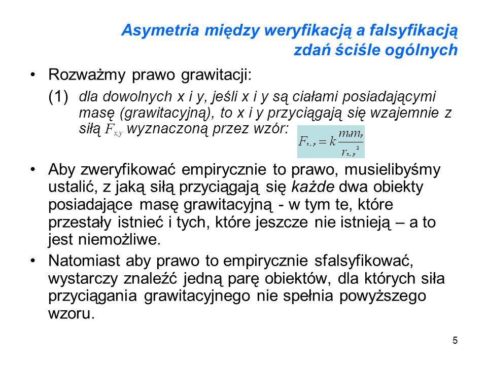 Asymetria między weryfikacją a falsyfikacją zdań ściśle ogólnych