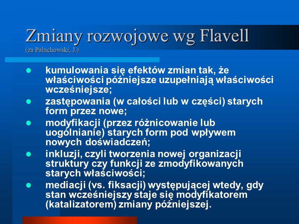 Zmiany rozwojowe wg Flavell (za Paluchowski, J.)