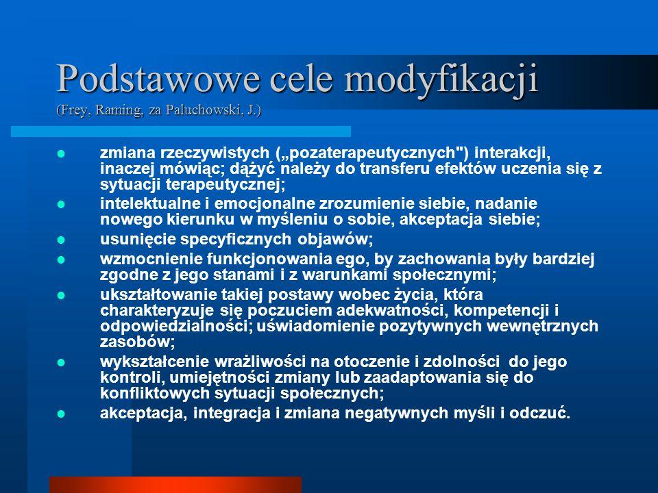 Podstawowe cele modyfikacji (Frey, Raming, za Paluchowski, J.)