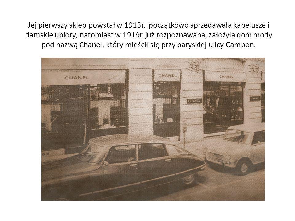 Jej pierwszy sklep powstał w 1913r, początkowo sprzedawała kapelusze i damskie ubiory, natomiast w 1919r.