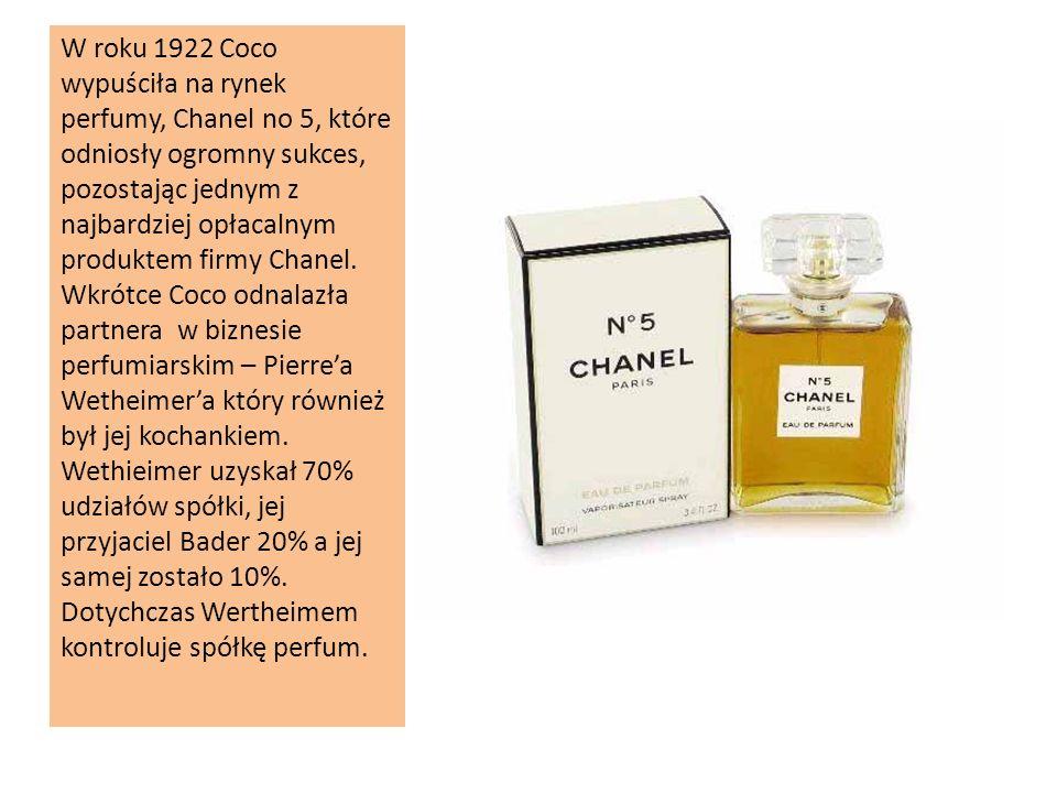 W roku 1922 Coco wypuściła na rynek perfumy, Chanel no 5, które odniosły ogromny sukces, pozostając jednym z najbardziej opłacalnym produktem firmy Chanel.