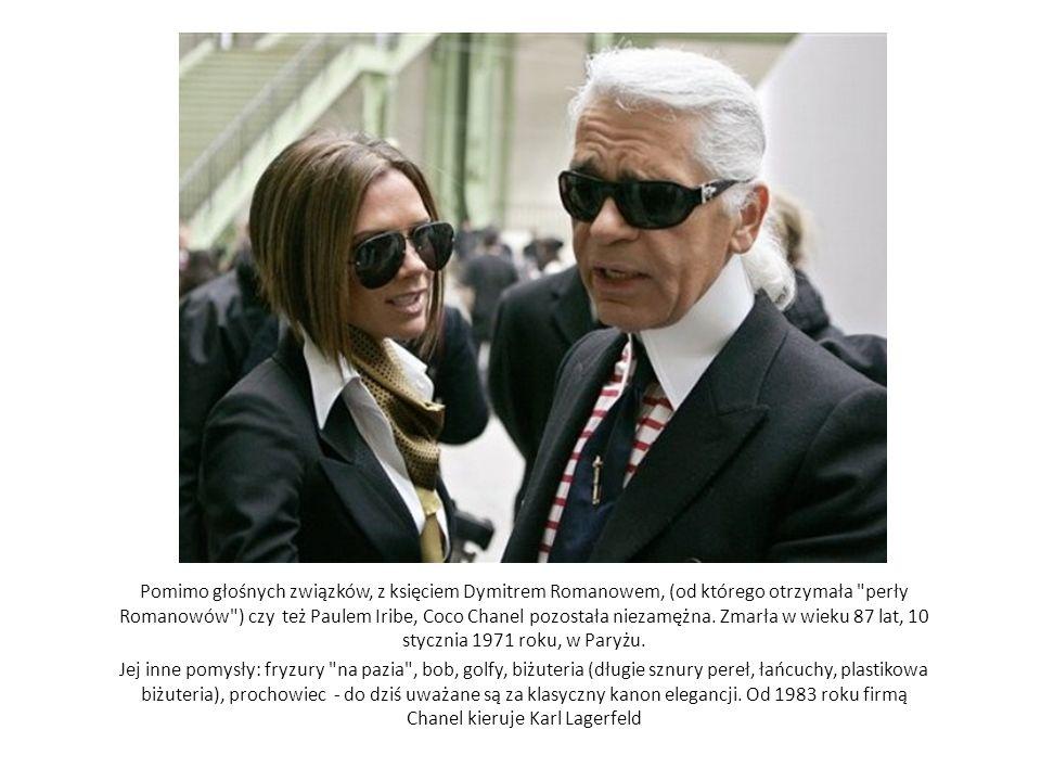 Pomimo głośnych związków, z księciem Dymitrem Romanowem, (od którego otrzymała perły Romanowów ) czy też Paulem Iribe, Coco Chanel pozostała niezamężna. Zmarła w wieku 87 lat, 10 stycznia 1971 roku, w Paryżu.