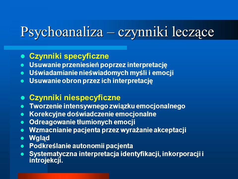 Psychoanaliza – czynniki leczące