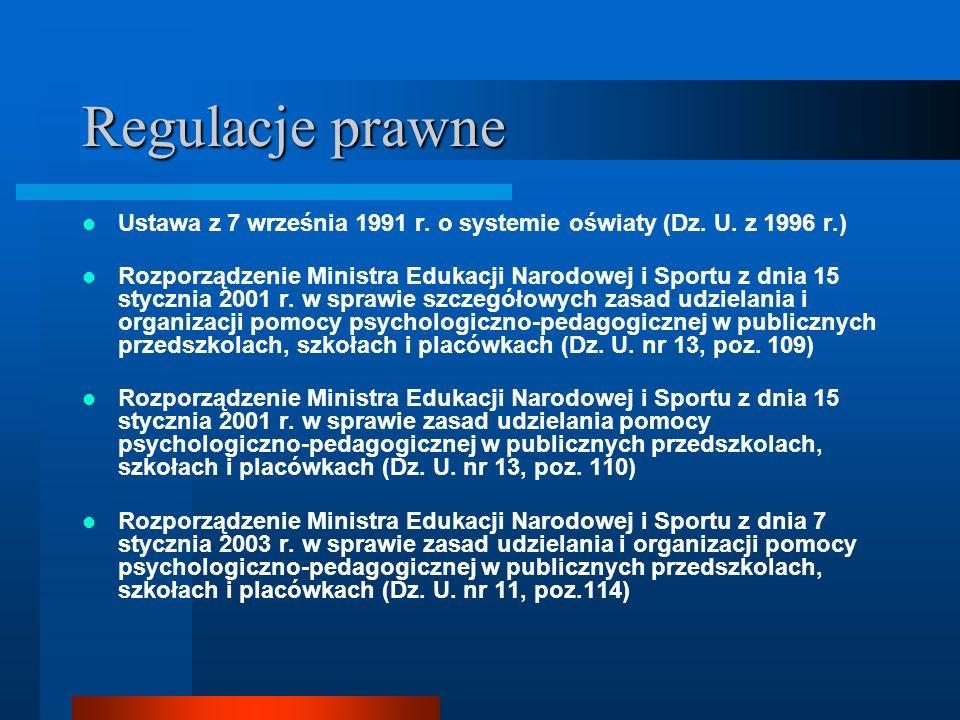 Regulacje prawneUstawa z 7 września 1991 r. o systemie oświaty (Dz. U. z 1996 r.)