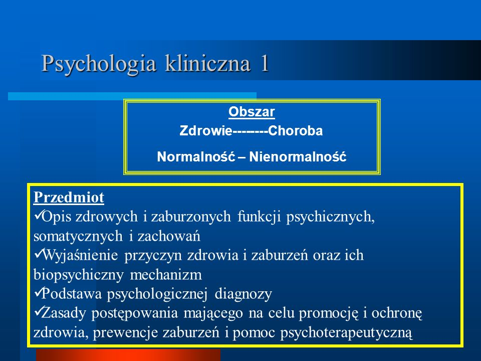 Psychologia kliniczna 1