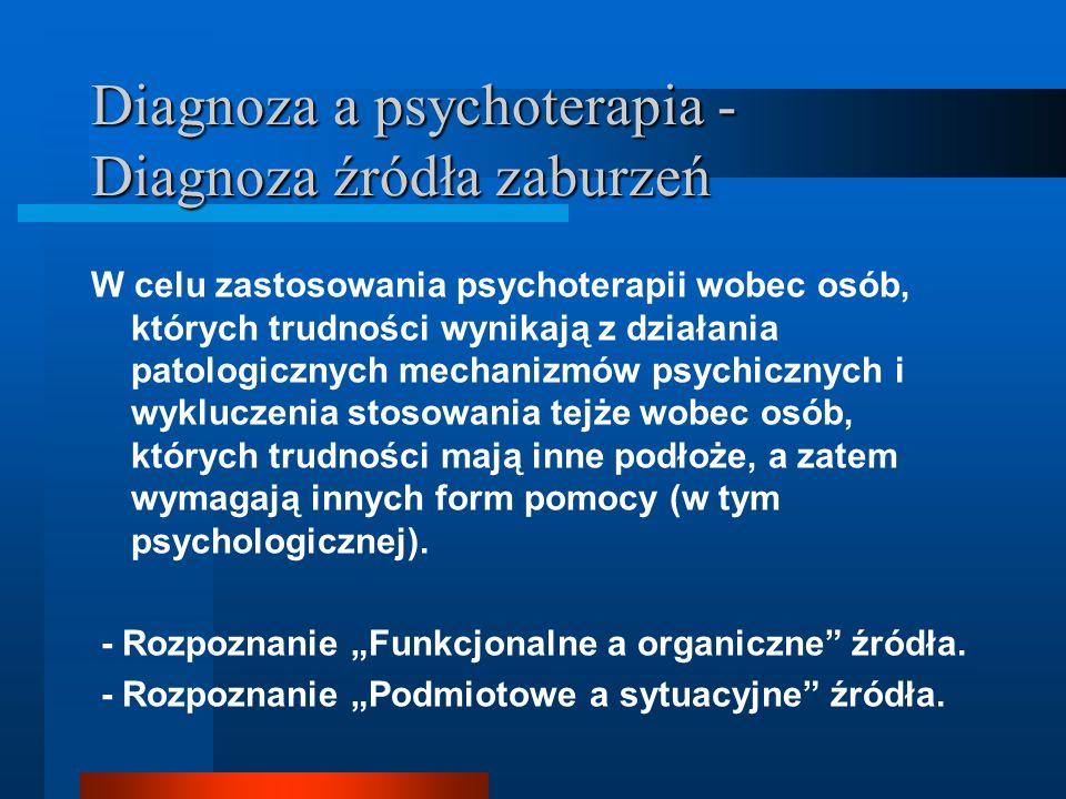 Diagnoza a psychoterapia - Diagnoza źródła zaburzeń