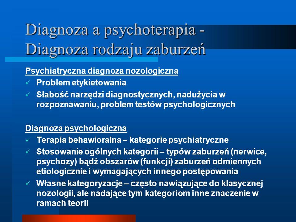 Diagnoza a psychoterapia - Diagnoza rodzaju zaburzeń