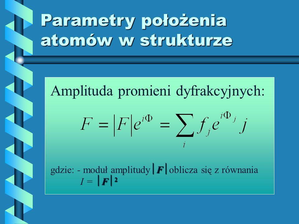 Parametry położenia atomów w strukturze
