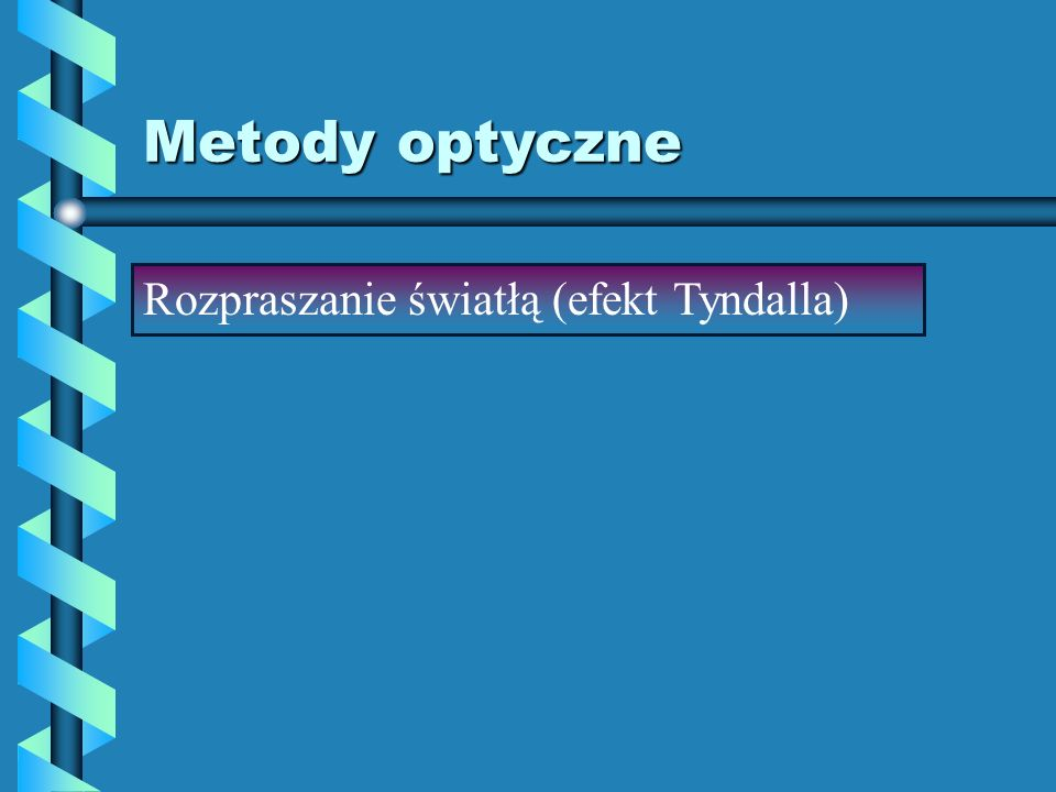 Metody optyczne Rozpraszanie światłą (efekt Tyndalla)
