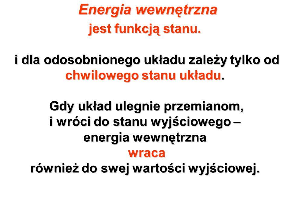 Energia wewnętrzna jest funkcją stanu.