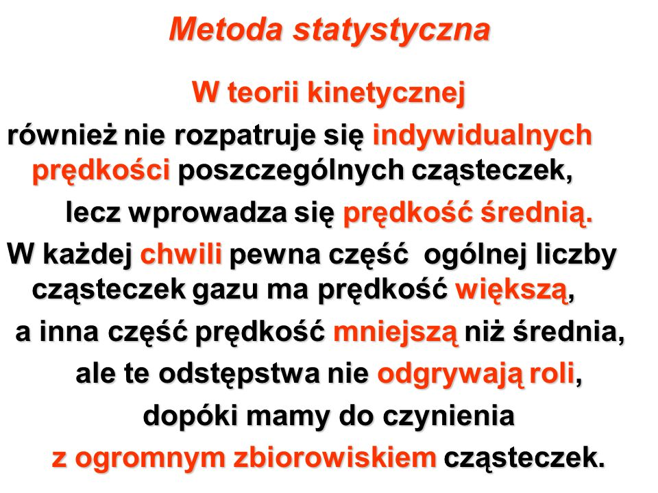 Metoda statystyczna W teorii kinetycznej