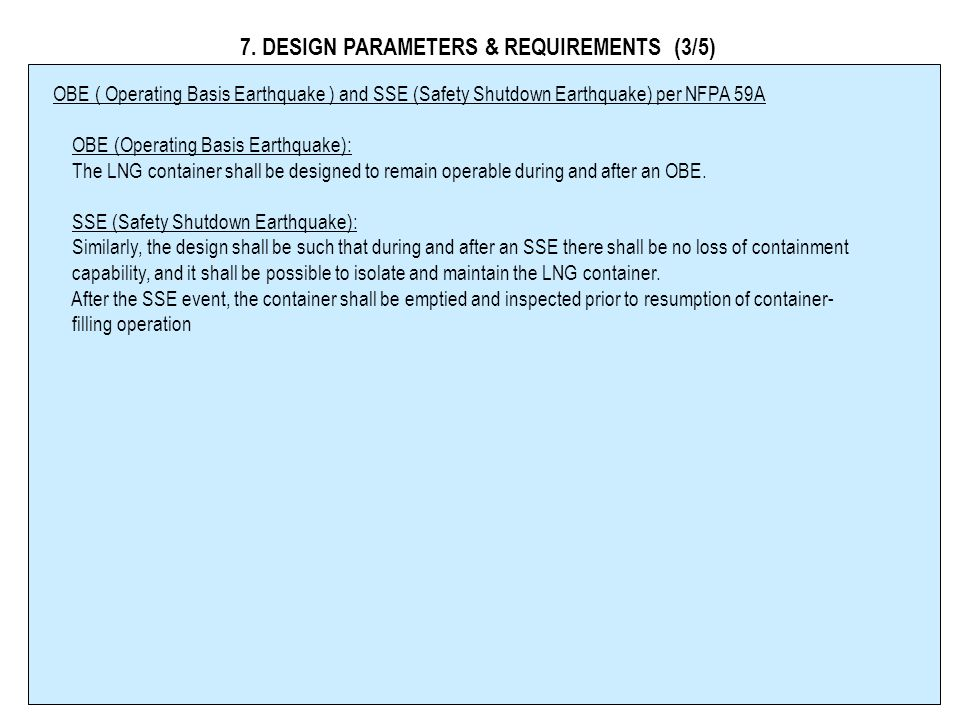 7. DESIGN PARAMETERS & REQUIREMENTS (3/5)