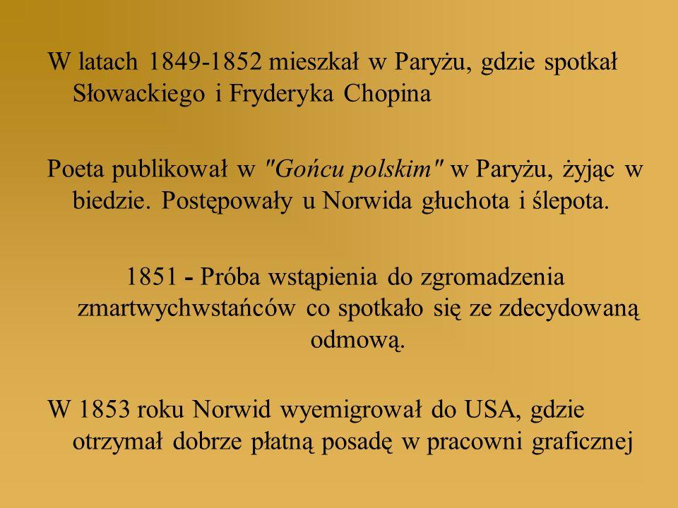 W latach 1849-1852 mieszkał w Paryżu, gdzie spotkał Słowackiego i Fryderyka Chopina