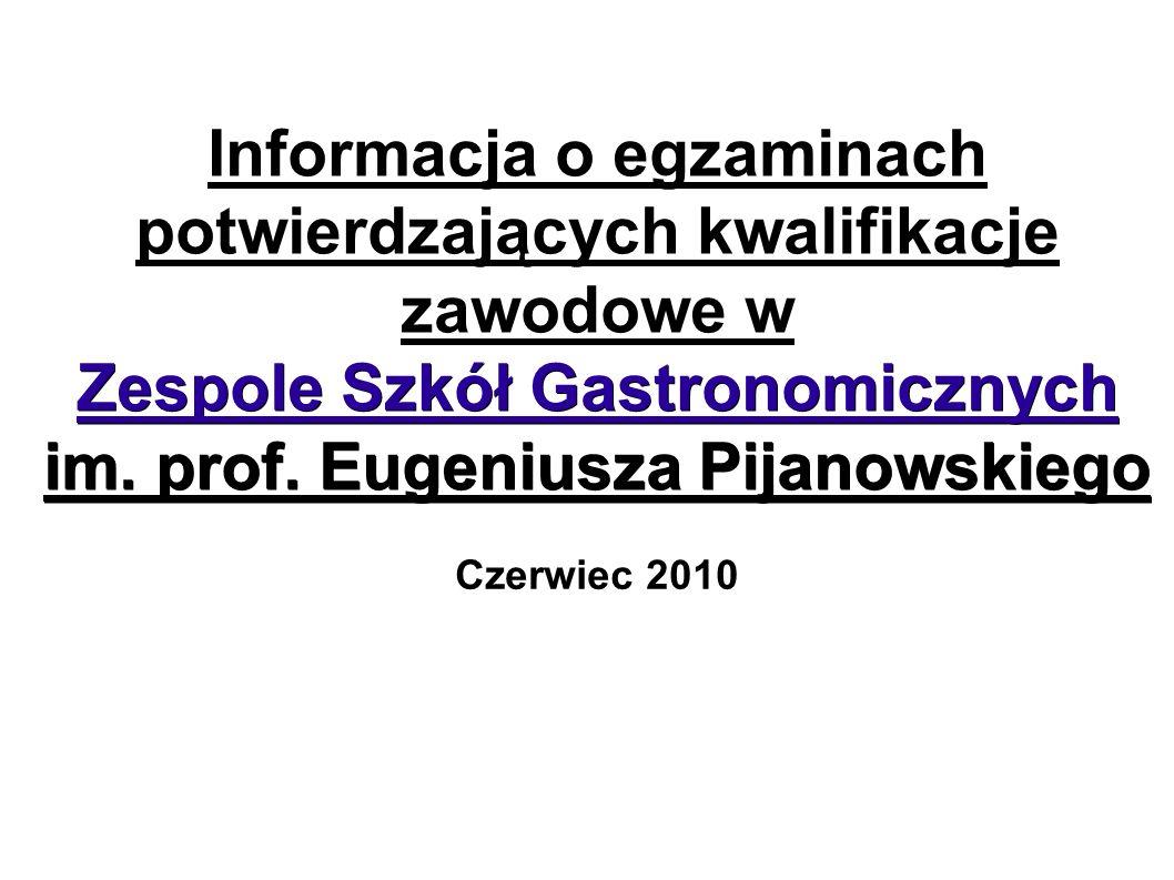 Informacja o egzaminach potwierdzających kwalifikacje zawodowe w Zespole Szkół Gastronomicznych im. prof. Eugeniusza Pijanowskiego