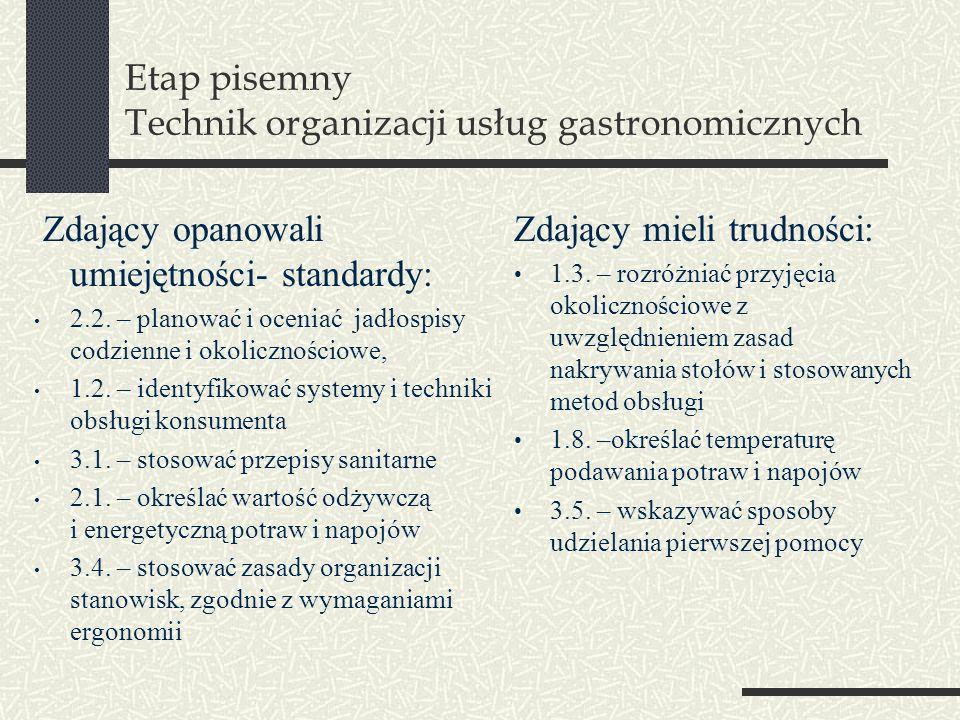Etap pisemny Technik organizacji usług gastronomicznych