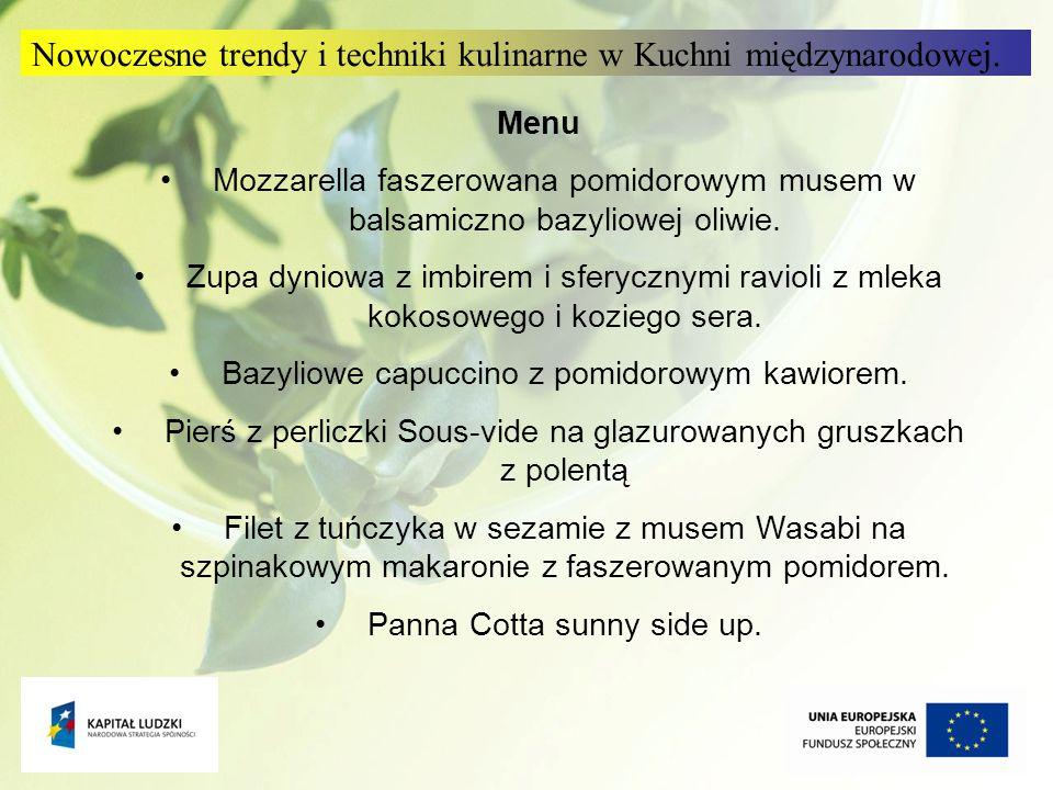 Nowoczesne trendy i techniki kulinarne w Kuchni międzynarodowej.